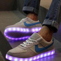 Basket A Led Casual Shoes Usb Charging Lights Shoes 35-44 Colorful Led Light Up Shoes Canvas Chaussure Led Luminous Glowing