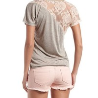 Asymmetrical Lace Back Tee: Charlotte Russe