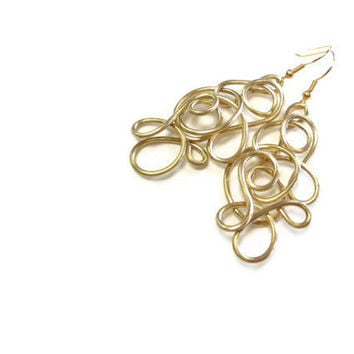 Lacy Gold Earrings Wire Art Dangle Abstract Large Jewelry