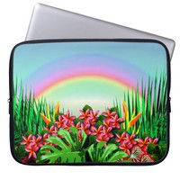 Women's Beautiful Bright Tropical Paradise Rainbow Laptop Sleeves
