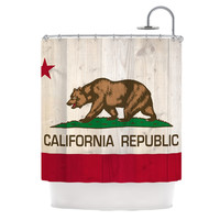 "Bruce Stanfield ""California Flag Wood"" Brown Shower Curtain"
