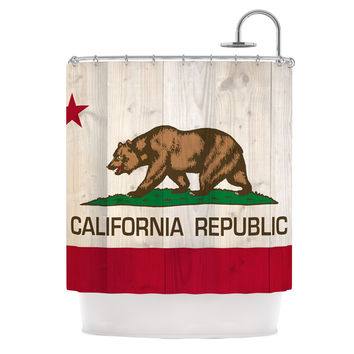 """Bruce Stanfield """"California Flag Wood"""" Brown Shower Curtain"""