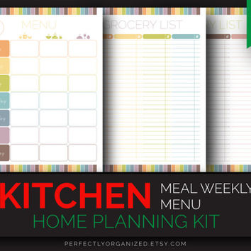 Meal Menu Planner, Weekly Meal Menun Plan Planner Organizer, Shopping Grocery List // Pastel, DIY // Household PDF Printables