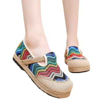 Partiss Women Linen Handmade Wave Pattern Espadrilles Casual Flats Beijing Shoes