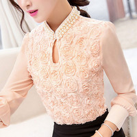 S-3XL New style Plus size Women Chiffon blouse Sexy Flower Beaded lace Tops long sleeved Casual shirt Patchwork Women clothing