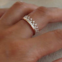 """Crown"" Ring - Sterling silver & rose gold-filled, sz 9 (current stock)"