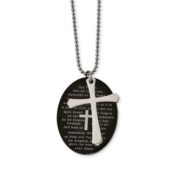Stainless Steel Polished Black IP Lord's Prayer Oval Cross Necklace 24in