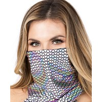 Silver Black Triangle Print Face Mask
