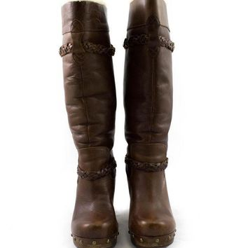 CREY1O Ugg Brown Tall Leather Boots with Braid Details and Wool Lining