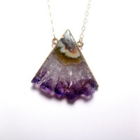 Purple Amethyst Stalactite Druzy Slice Triangle Necklace With 24k Gold Trim