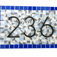 Blue and Gray Mosaic Outdoor Address Sign