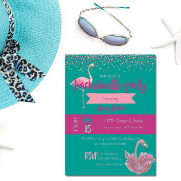 Printable flamingo bachelorette party invitation / flamingle bachelorette invite / let's flamingo invite / flamingo invite / teal and pink