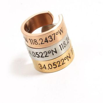 LMFON Simple Personality Engraved Numeral Letter latitude Unisex Ring Couple Little Finger Ring