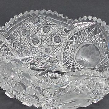 "American Brilliant Period Cut Glass  ABP  Antique 8"" bowl triple miter"