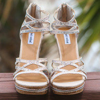 SZ 9.5 NOT RATED Nude Sea Cork Wedge