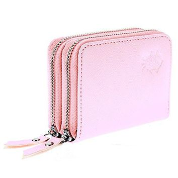 Womenrsquos Premium Faux Leather RFID Secure Spacious Cute Zipper Card Wallet Small Purse