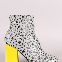 Glitter Stars Print Contrast Chunky Heeled Ankle Boots