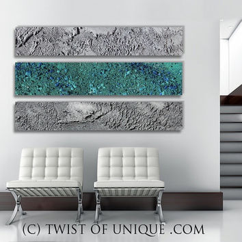 AcryliCrete Abstract Painting, CUSTOM 3 panel (48 Inches x 13 Inhces)  abstract wall art - Teal and metallic silver