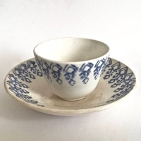 Antique Staffordshire Stick Spatter Pottery - Child's Tea Cup and Saucer, Staffordshire Pottery, Allerton and Sons , Circa 1860's