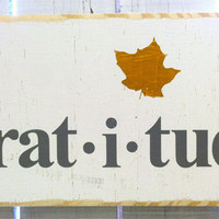 Typography Wood Sign-Gratitude Fall Harvest Wall Decor