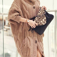 Casual Turtleneck Solid Color Long Sleeve Loose Knitted Cardigan For Women