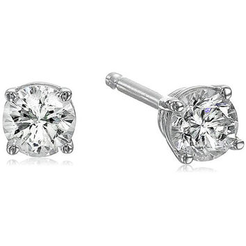 14K White Gold 1/4 Carat Round Genuine White Diamond Stud Earrings