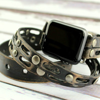 Distressed Black Apple Watch Band, 38mm Leather Apple Wrap Watch, 42mm Apple Leather Strap
