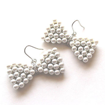 Pearl earrings silver and crystal bowtie by Bunnys on Etsy