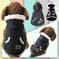 Cool Design S/M/L/XL Ponit Or Star Soft Cotton Blend Winter Warm Pet Windproof Clothes Dog Winter Jacket Coat Dog Clothes