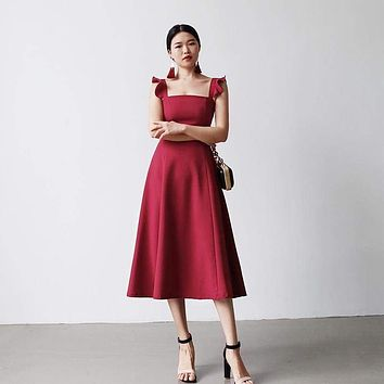 Elegant  Dress Petal Sleeves Square Neck High Waist A Line Draped Dress Midi Dress