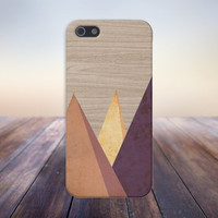 3D Marble Triangles x Wood Case for iPhone 6 6 Plus iPhone 5 5s 5c iPhone 4 4s Samsung Galaxy s5 s4 & s3 and Note 4 3 2