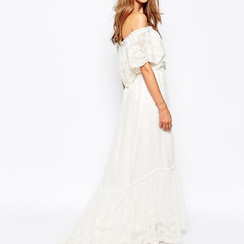 White Sand Juliet Tierred Off Shoulder Dress In Embroidered Floral Lace