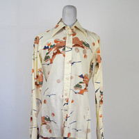 Mens Britania Long Sleeve Vintage Shirt Landscape Print Beige 1970s Collar Button Down Size S Abstract Trees