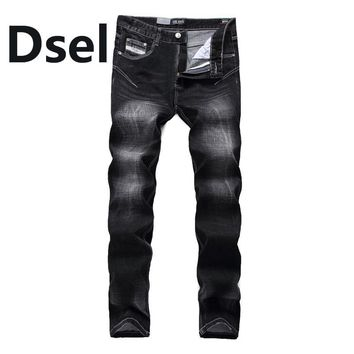 Preppy Skinny Jeans Men Ripped Denim Trousers High Quality Brand Black Jeans Dsel Men`s Thin Stretch Jeans 7702