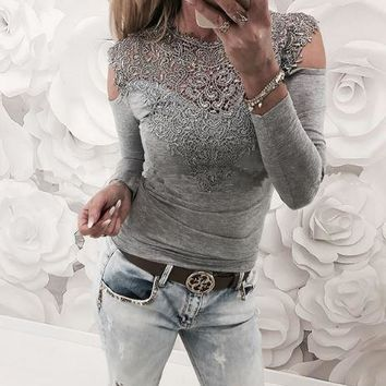 Gray Lace Stitching Cutout Top
