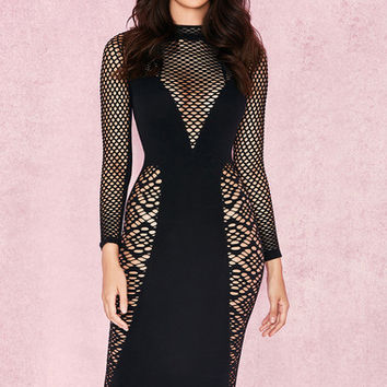 Clothing : Bodycon Dresses : 'Silvy' Black Long Sleeve Open Knit Dress