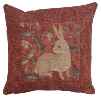 Sitting Rabbit in Red French Cushion