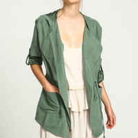 OLIVE DRAWSTRING ANORAK TRENCH JACKET