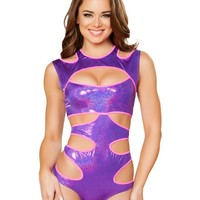 Purple Holographic Cutout Bodysuit