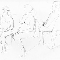 GIRL THREE TIMES- Front View  - Original Life Drawing - Fine Art - Nude Drawing - ElizabethAFox