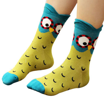 1Pair Autumn Winter Fashion Socks New Women Cute Owl Print Socks Casual Women Girls Socks Hot Sale 2015 Drop Shipping