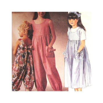 McCalls 4802 Laura Ashley Pattern Girls Jumpsuit and  Jumper Size 4 5 6 Uncut