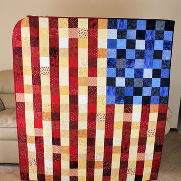Patriotic Throw - Medium Lap Quilt - Wall Hanging - MADE TO ORDER