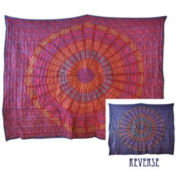 Blue And Maroon Tapestry Quilt