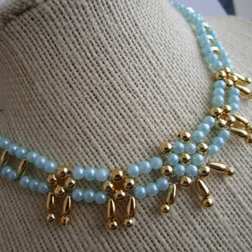 Beaded Choker - light blue gold bead choker - choker jewelry - necklace jewelry - bead choker jewelry - flower bead choker - necklace choker