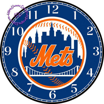 """New York Mets Sports Team Art - -DIY Digital Collage - 12.5"""" DIA for 12"""" Clock Face Art - Crafts Projects"""