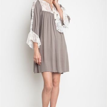 Umgee Latte Ruffled Lace Bib Tunic Dress