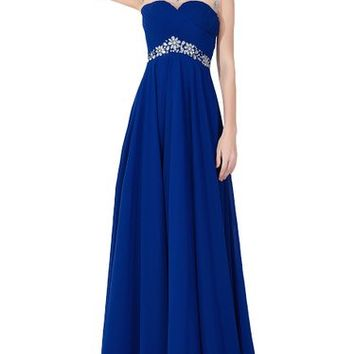 Babyonline Cap Sleeve Rhinestones Long Evening Dress 2015 Prom Gown ZS-CPS073