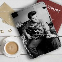 Elvis Presley With Guitar Leather Passport Wallet Case Cover