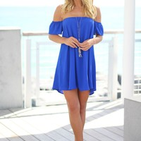 Royal Blue Off Shoulder Dress